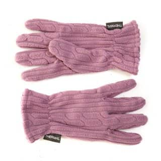 Wholesale ladies fleece cable knit effect gloves in purple