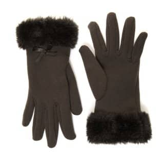 Wholesale womens black gloves with black faux fur cuff