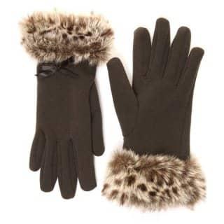 Wholesale womens black gloves with animal print faux fur cuff
