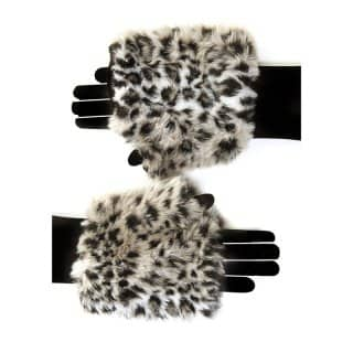 Wholesale womens faux fur animal print fingerless gloves