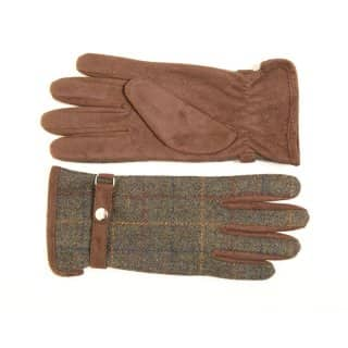 GL70 - LADIES TWEED GLOVES WITH FAUX SUEDE TRIM