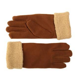 Wholesale fleece womens gloves with barber cuff in brown colour scheme