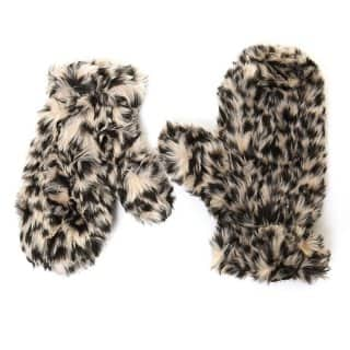 Wholesale luxury mittens with animal print faux fur