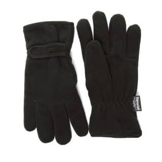 Wholesale black thinsulate fleece gloves with velcro adjuster