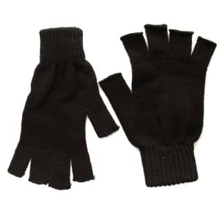 Wholesale black fingerless knitted gloves for men