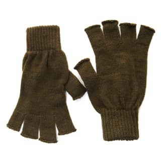 Wholesale olive fingerless knitted gloves for men