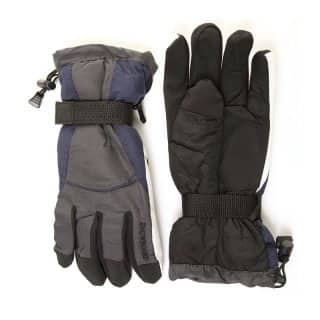 Wholesale mens dark grey snowboard gloves with toggle