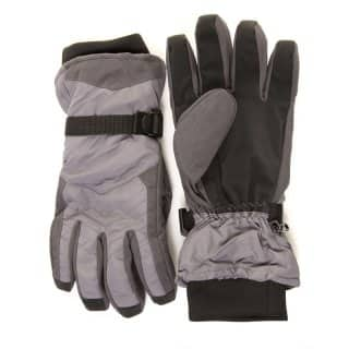 Wholesale mens high quality grey ski gloves with waterproof liner