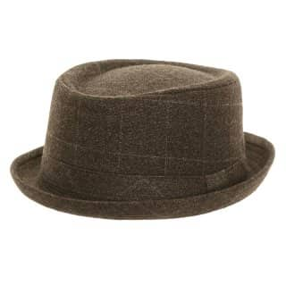 Wholesale adults grey check porkpie hat in unisex sizes