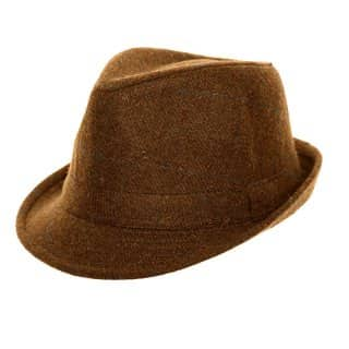 Wholesale brown adults unisex tweed trilby