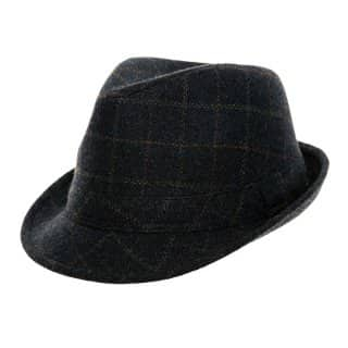 Wholesale blue adults unisex tweed trilby