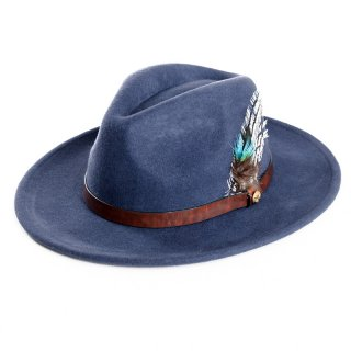 Wholesale ladies blue wool felt fedora with feather trim