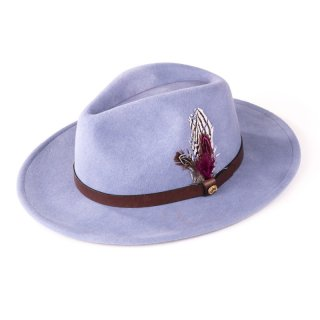 Wholesale ladies purple wool felt fedora with feather trim
