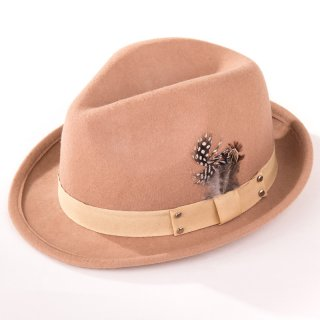 Wholesale brown ladies wool felt trilby with feather trim