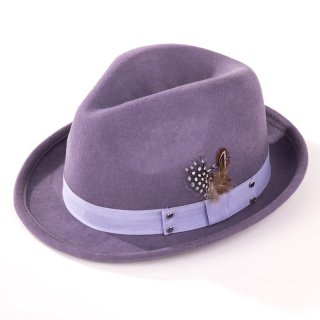 Wholesale ladies purple wool felt trilby with feather trim