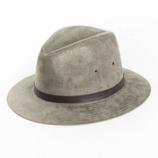 Wholesale unisex grey faux suede fedora with faux leather band