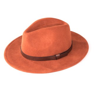 Wholesale ladies orange wool felt fedora with faux leather band