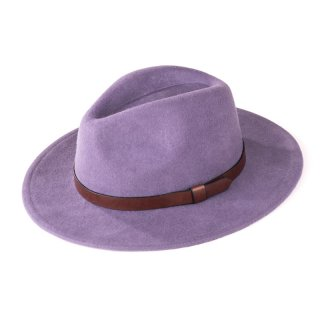 H130 - LADIES WOOL FELT FEDORA WITH FAUX LEATHER BAND