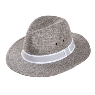 Wholesale mens fedora hat with detailed band in grey developed from polyester