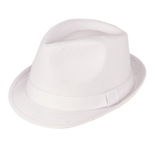 Wholesale mens plain white trilby hat developed from cotton