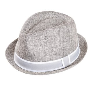 Wholesale grey mens trilby hat with detail band developed from polyester