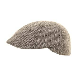 Wholesale grey tweed shaped flat cap with preformed peak