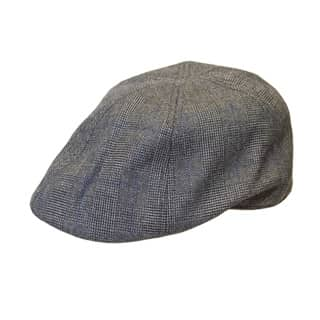 Wholesale grey checked shaped flat cap with preformed peak
