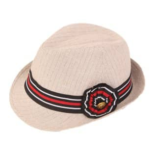 Wholesale beige pinstripe trilby with stripy band
