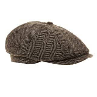 H87 - MENS 8-PANEL HERRINGBONE TWEED CAP