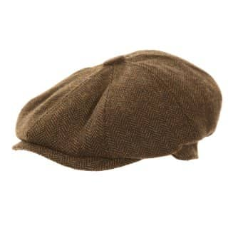 Wholesale brown hawkins branded mens 8 panel cap