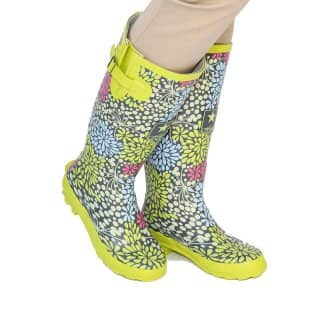 LADIES LIME & GREY STARBURST WELLINGTON BOOTS