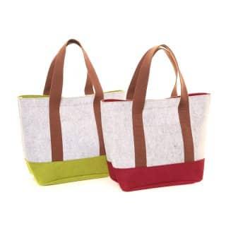 Wholesale pack of 2 felt shopper hand bags