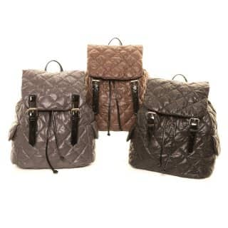 Wholesale pack of 3 diamond quilted rucksack bag