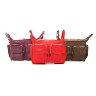 Wholesale pack of 3 crushed nylon cross body double pocket bag
