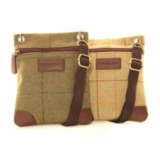 Wholesale pack of 2 small tweed cross body bag