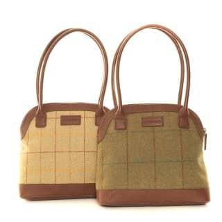 LB25- PACK OF 2 TWEED BOWLER HAND BAG
