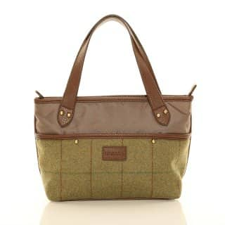 Wholesale green tweed small shopper