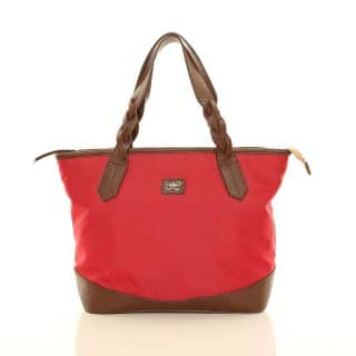 Wholesale red nylon shopper bag with plait handles