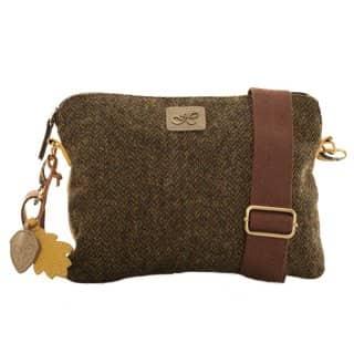 Wholesale brown herringbone tweed small shoulder bag