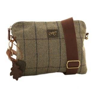 Wholesale green herringbone tweed small shoulder bag