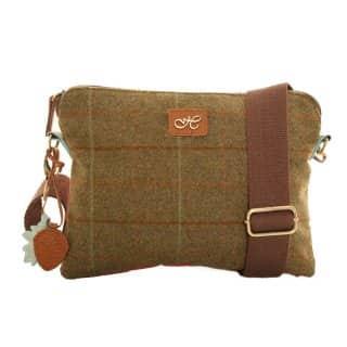 Wholesale green tweed small shoulder bag