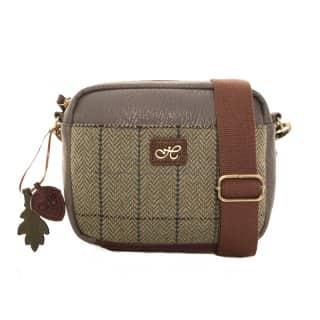 Wholesale green tweed shoulder bag