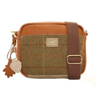 Wholesale dark green tweed shoulder bag with hawkins branding