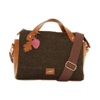 Wholesale dark brown tweed hand bag