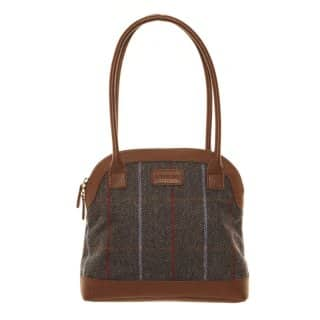 Wholesale blue tweed bowler bag