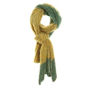 Wholesale yellow and green chunky knit scarf