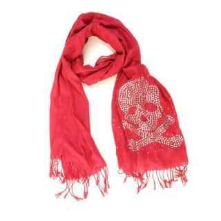 Wholesale red ruby cross bones lightweight scarf