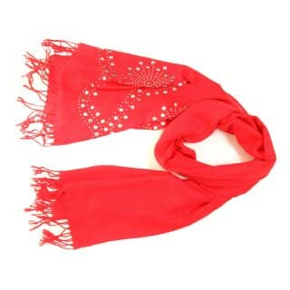 Wholesale ladies evie red diamonte and stud lightweight scarf