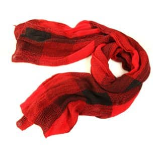 Wholesale ladies libby checked lightweight scarf in red and black