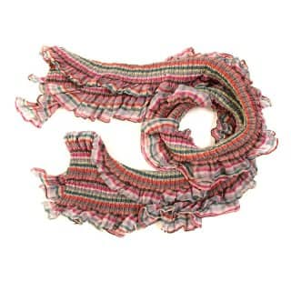 Wholesale ladies gabby pink check and frilly lightweight scarf
